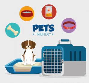 image of a dog sitting on a bed with the items needed for a puppy flaoting above him and a crate next to him.