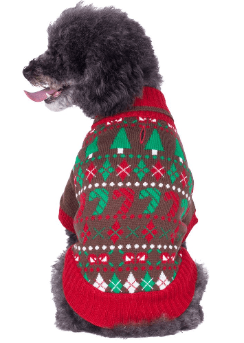 Brown and green ugly sweater on dog