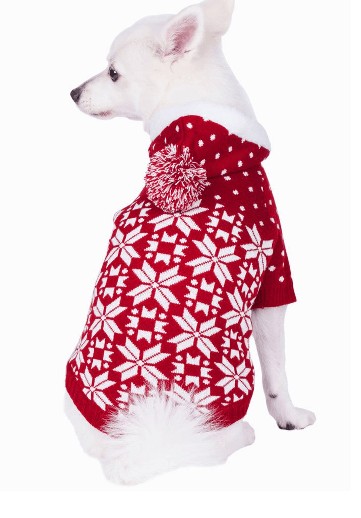 Red and white snowflake design on white dog. Happyoodles.com