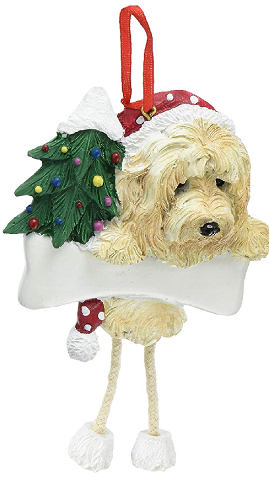Hanging Goldendoodle Dog Ornament
