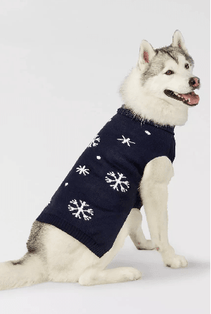 Navy and white snowflake dog sweater on husky