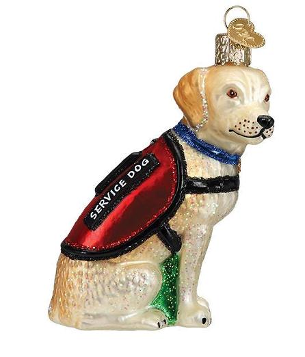 Service Dog Glass Ornament