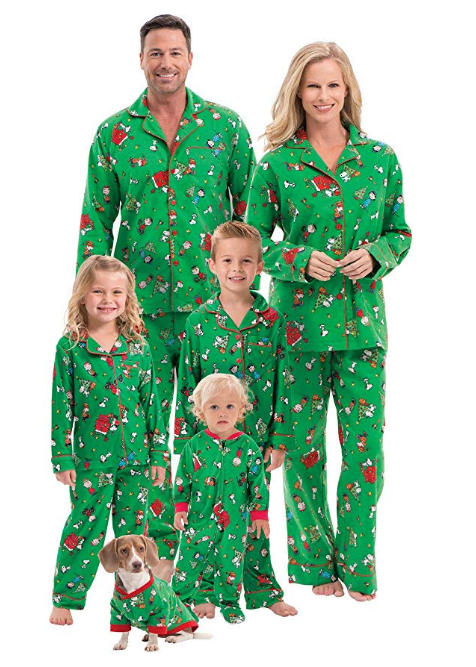 Family wearing matching pajamas as a holiday traditions