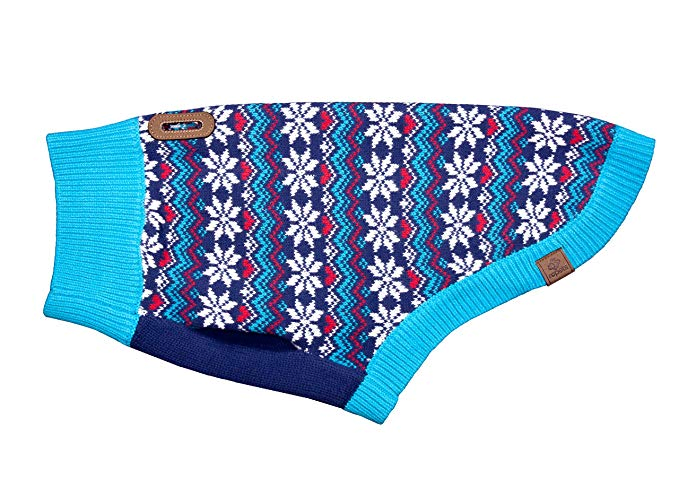 Blue multi colored dog sweater