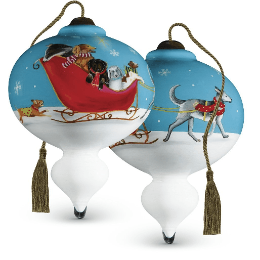Dogs on sleigh ornament