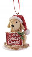 Santa's helper dog ornament