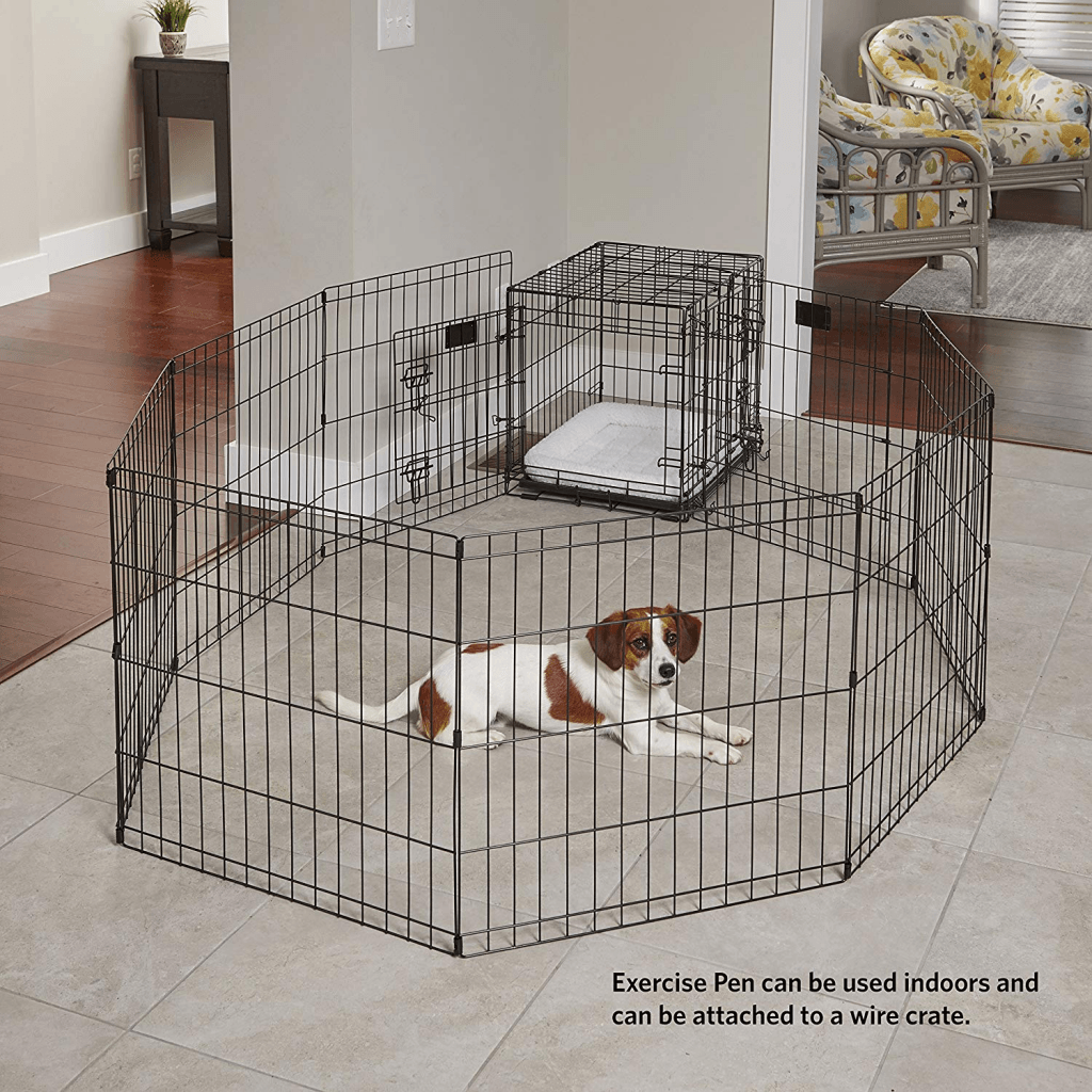 Crate Training a Puppy - Use an Exercise pen like shown in this picture to give your puppy time out of their crate while still keeping them safe.
