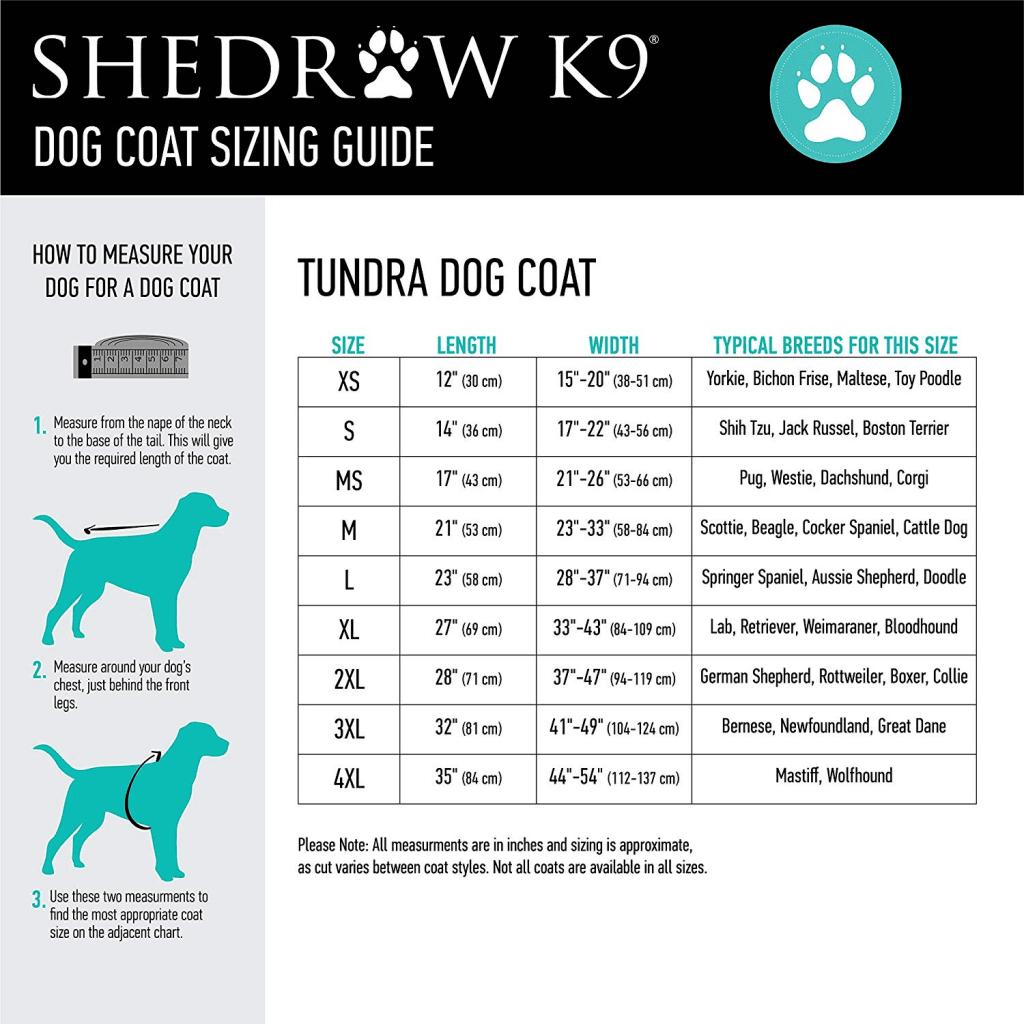 Shedrow K9 Size Chart